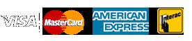 Mode de paiement Visa, Mastercard, Interac, American Express